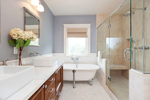 Bright and clean fixtures are always a good choice in a bathroom remodel.